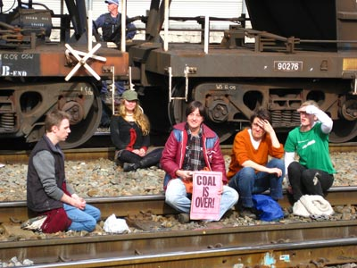 Peaceful protest on coal line in Newcastle