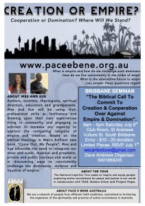 Brisbane One Day Seminar - The Biblical Call To Commit To Creation And Cooperation Over Against Empire And Domination